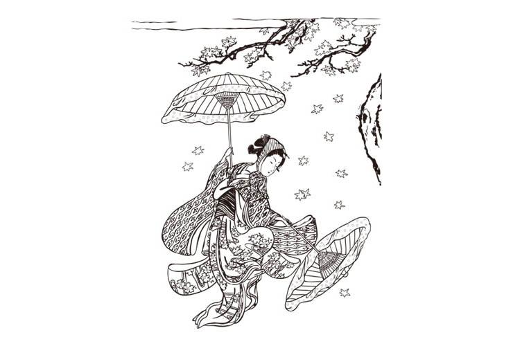 紅葉舞(もみじま)い / 鈴木春信