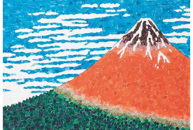 思い通りの色で作る貼り絵の「赤富士」