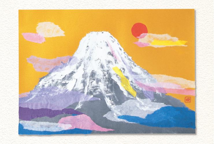 水墨画のように描いて「富士山の初日の出」