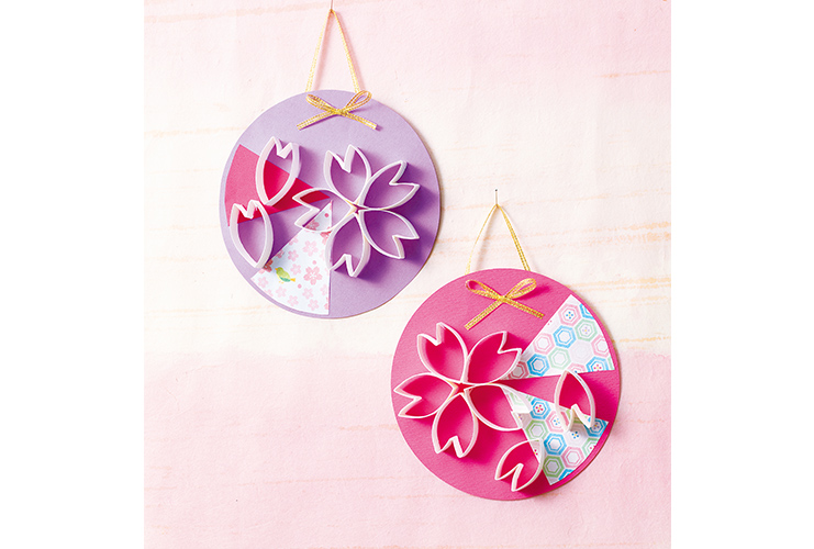 ペーパー芯で作る「桜の壁飾り」