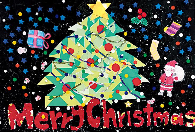 ぬり絵や貼り絵でクリスマスの壁面を作りました