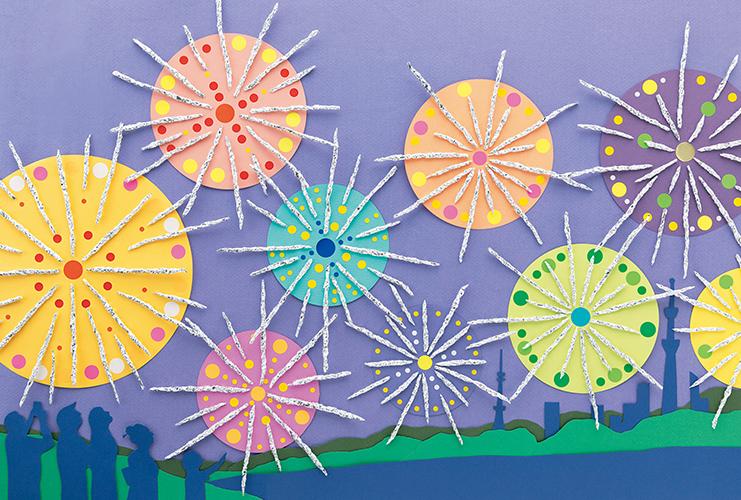 みんなで作る壁面「大輪の花火」