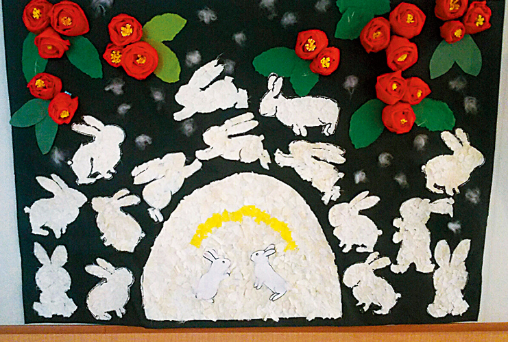 うさぎのちぎり絵とクリスマスリースを作りました
