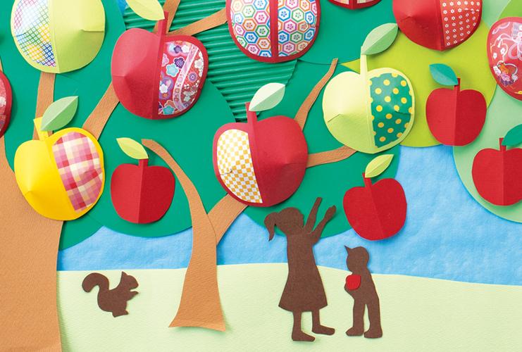 みんなで作る壁面「秋のりんご園」