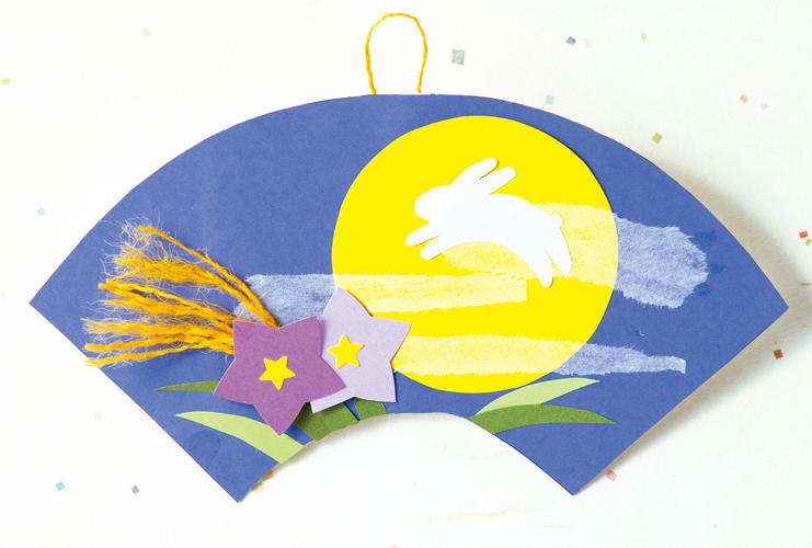 牛乳パックを利用した「お月見の壁飾り」
