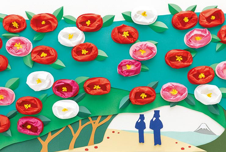 みんなで作る壁面 「椿の咲く島」