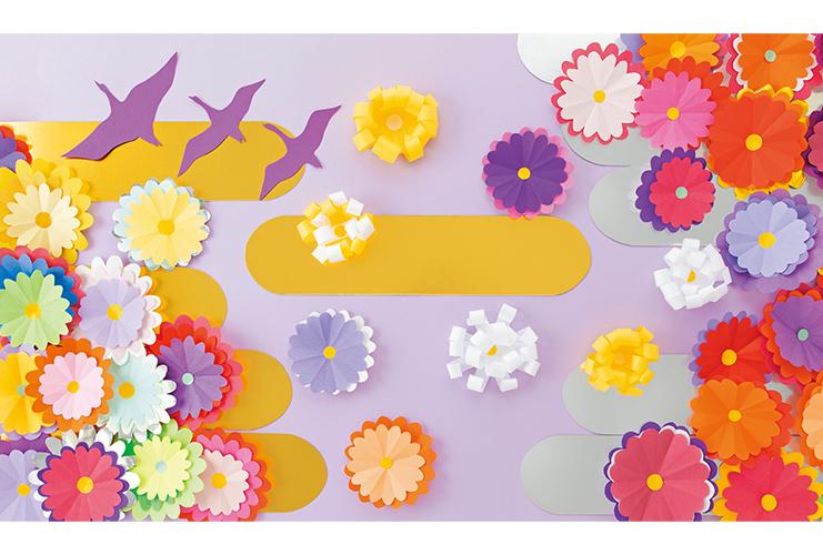 みんなで作る壁面「菊の屏風」